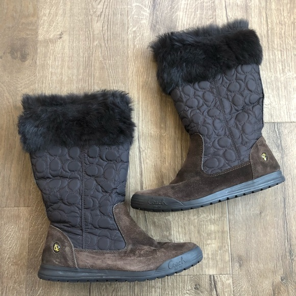 Coach Shoes - Coach Talen Fur Lined Brown Suede Tall Boots 8